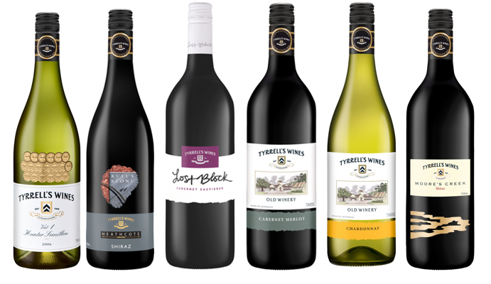 A selection of our range of Tyrrell's wines
