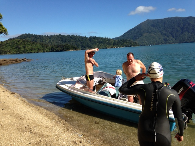 Anthony about to swim across the Marlborough Sounds, NZ